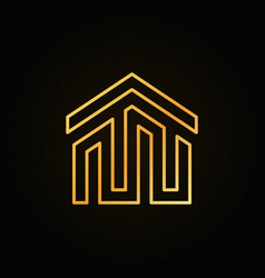 golden house building icon or logo vector image