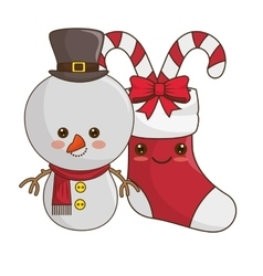 happy merry christmas snowman kawaii style vector image