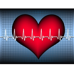Heart on blue grid with cardiogramm vector