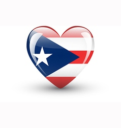 Heart-shaped icon with flag of puerto rico vector