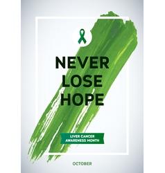 Liver cancer awareness month design green brush vector