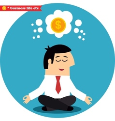 Manager meditating on money and success vector image