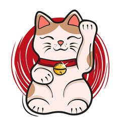 Maneki neko japanese lucky cat fortune symbol vector