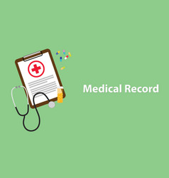 Medical record with paperwork on clip vector