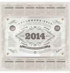 Ornate vintage calendar of 2014 year vector image vector image