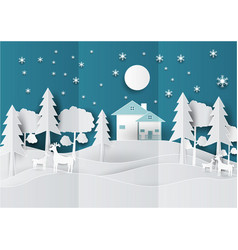 paper art landscape of christmas with deer tree vector image