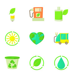Purity of nature icons set cartoon style vector