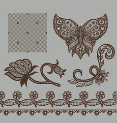 set of decorative elements lace patterns vector image vector image