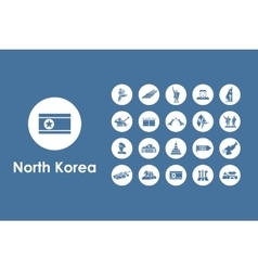 Set of North Korea simple icons vector image vector image
