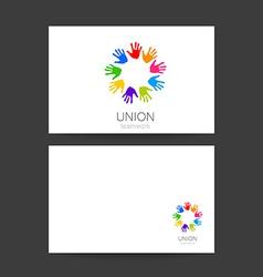 union hands teamwork logo template vector image vector image