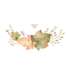 watercolor wreath of leaves and branches vector image