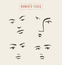 women s faces contours paintbrush sketch vector image