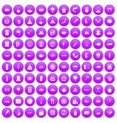 100 sushi bar icons set purple vector