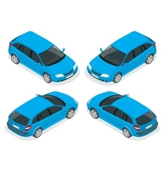 Isometric hatchback car vector