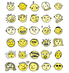 Set of thirty hand drawn emoticons or smileys vector