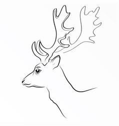 black silhouette of deer s head with vector image