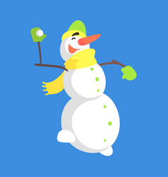 Alive classic three snowball snowman in yellow vector