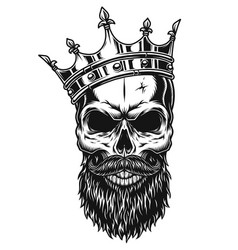 Black and white skull in crown vector