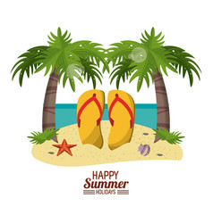 happy summer holidays poster beach with flip vector image