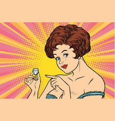 Retro lady offers a drink of vodka vector