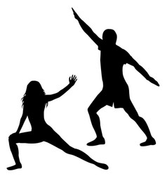 Silhouettes of man and woman practicing yoga vector