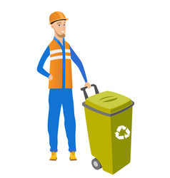 Young caucasian builder pushing recycle bin vector