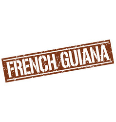 French guiana brown square stamp vector
