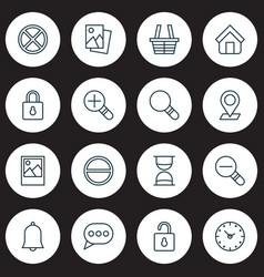 Icons set collection of increase loup safeguard vector