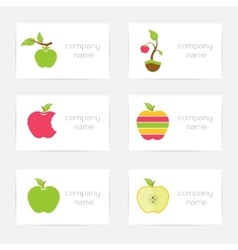Set of logos of apples vector