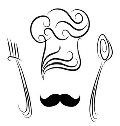 Chef hat with spoon and fork vector