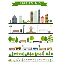 Flat city park forest road elements vector