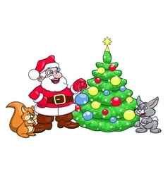 Santa decorating christmas tree 4 vector