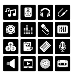 Black music sound and audio icons vector