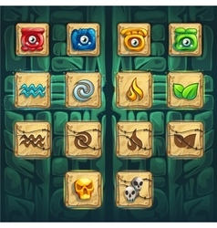 Jungle shamans GUI booster buttons kit vector image