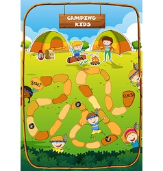 Boardgame template with camping theme vector image