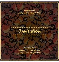 Invitation card with quince apples vector