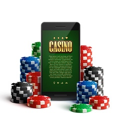 Casino chips and mobile isolated on white vector