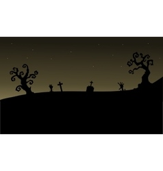 Halloween graveyards silhouette scary vector
