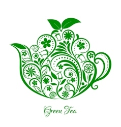 Floral green ornamental teapot over white vector