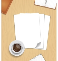 Note paper and a cup of coffee on wooden vector