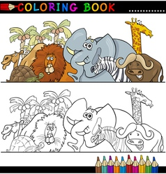 Wild safari animals for coloring vector