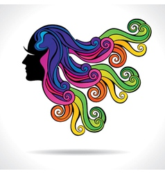 abstract colorful hair fashion girl vector image vector image