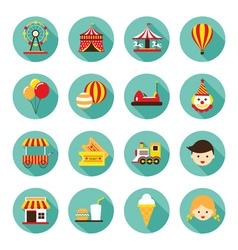 Amusement Park Flat Icons Set vector image
