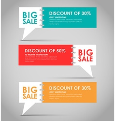 Banners with quote bubble for big sale vector image