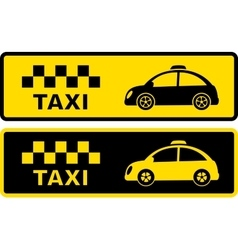Black and yellow retro taxi symbol vector