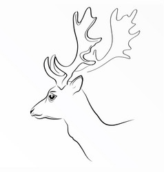 Black silhouette of deer s head with vector