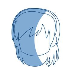 chibi anime girl avatar contour default vector image vector image