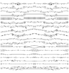 Doodle floral seamless line borders pattern vector