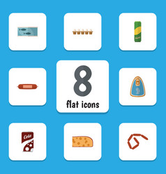 Flat icon food set of canned chicken kielbasa vector