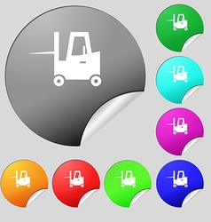 Forklift icon sign set of eight multi colored vector